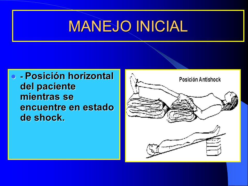 MANEJO INICIAL - Posición horizontal del paciente mientras se encuentre en estado de shock.