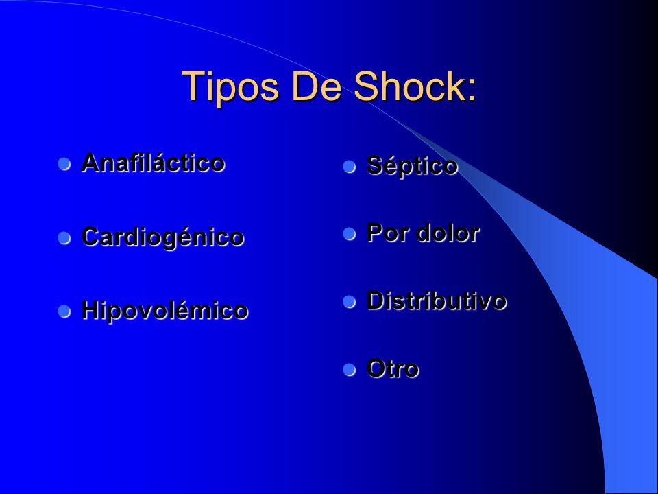 Tipos De Shock: Anafiláctico Séptico Cardiogénico Por dolor