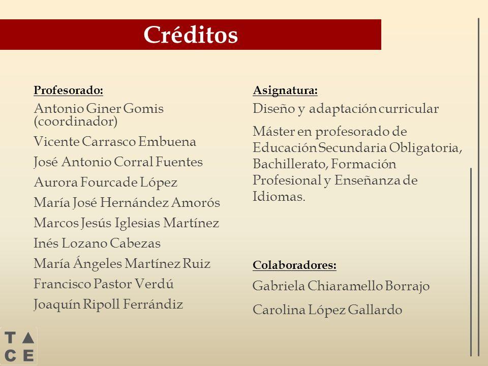 Créditos Antonio Giner Gomis (coordinador) Vicente Carrasco Embuena