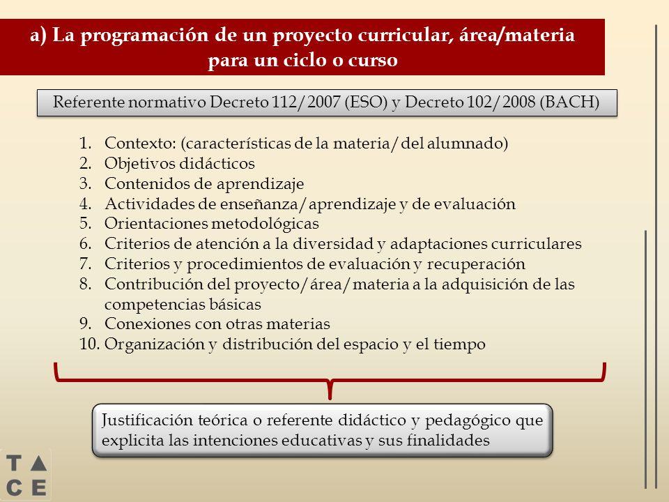 Referente normativo Decreto 112/2007 (ESO) y Decreto 102/2008 (BACH)
