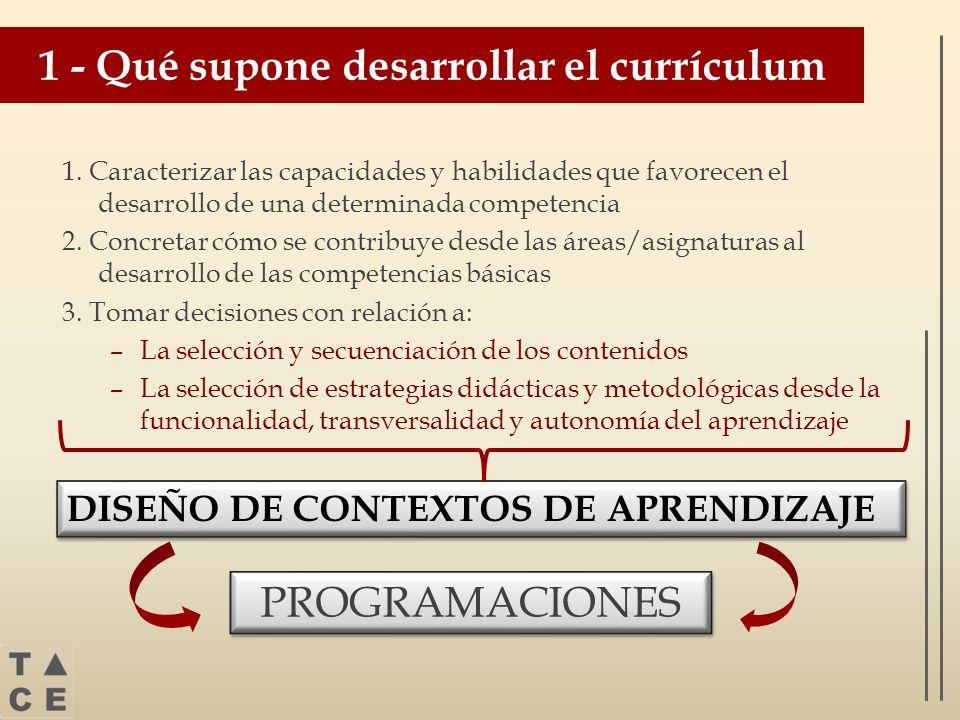 1 - Qué supone desarrollar el currículum