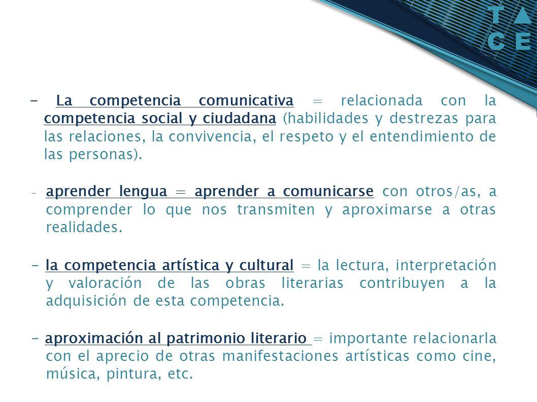 - La competencia comunicativa = relacionada con la competencia social y ciudadana (habilidades y destrezas para las relaciones, la convivencia, el respeto y el entendimiento de las personas).