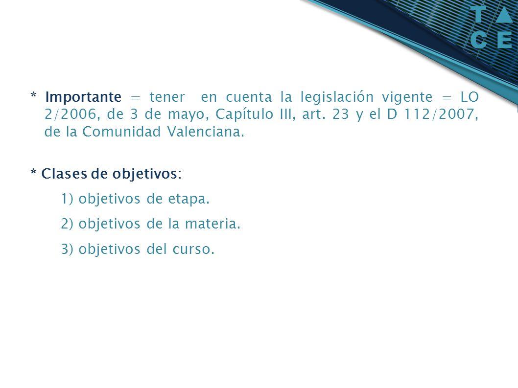 * Importante = tener en cuenta la legislación vigente = LO 2/2006, de 3 de mayo, Capítulo III, art.