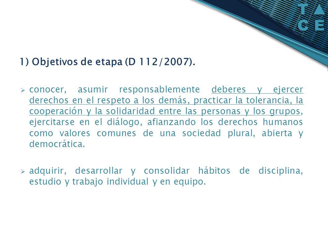 1) Objetivos de etapa (D 112/2007).