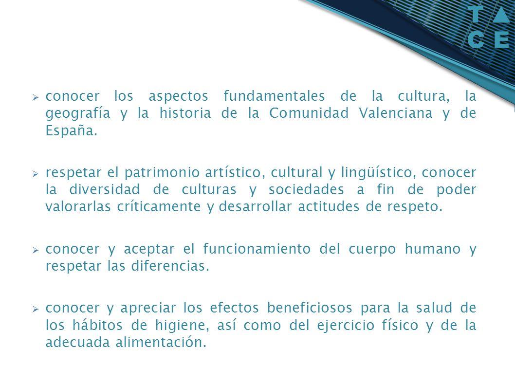 conocer los aspectos fundamentales de la cultura, la geografía y la historia de la Comunidad Valenciana y de España.