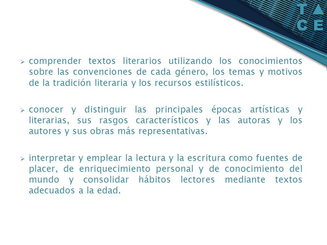 comprender textos literarios utilizando los conocimientos sobre las convenciones de cada género, los temas y motivos de la tradición literaria y los recursos estilísticos.