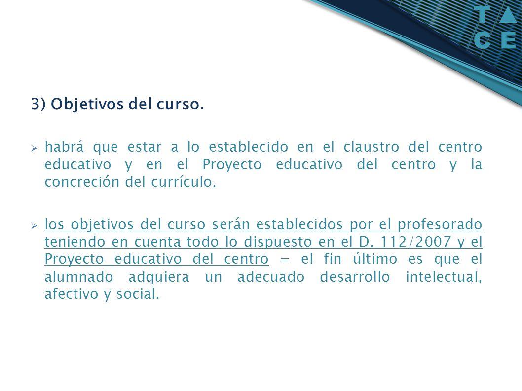 3) Objetivos del curso.
