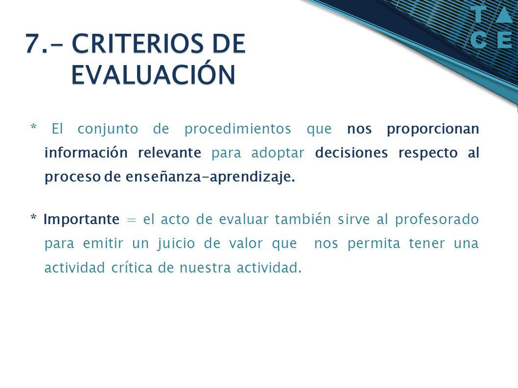7.- CRITERIOS DE EVALUACIÓN