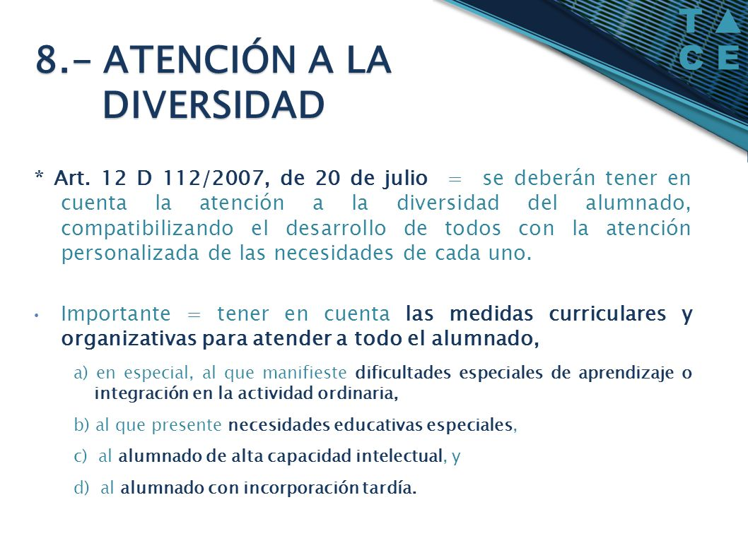8.- ATENCIÓN A LA DIVERSIDAD