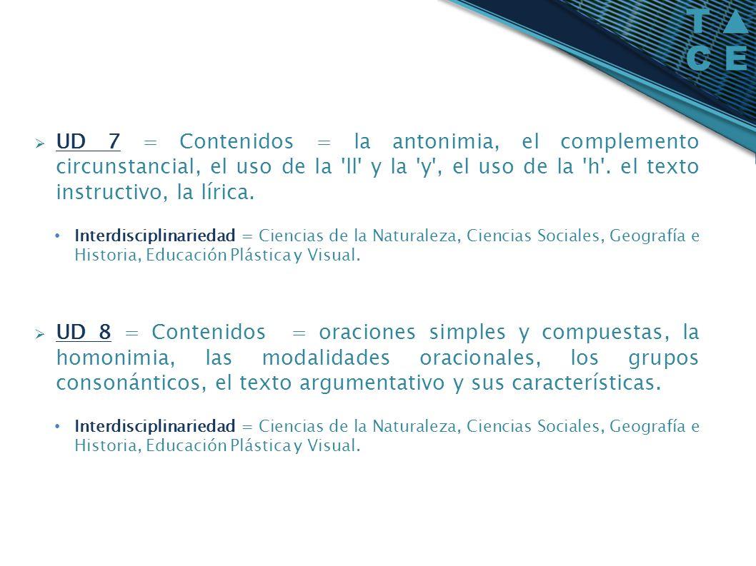 UD 7 = Contenidos = la antonimia, el complemento circunstancial, el uso de la ll y la y , el uso de la h . el texto instructivo, la lírica.