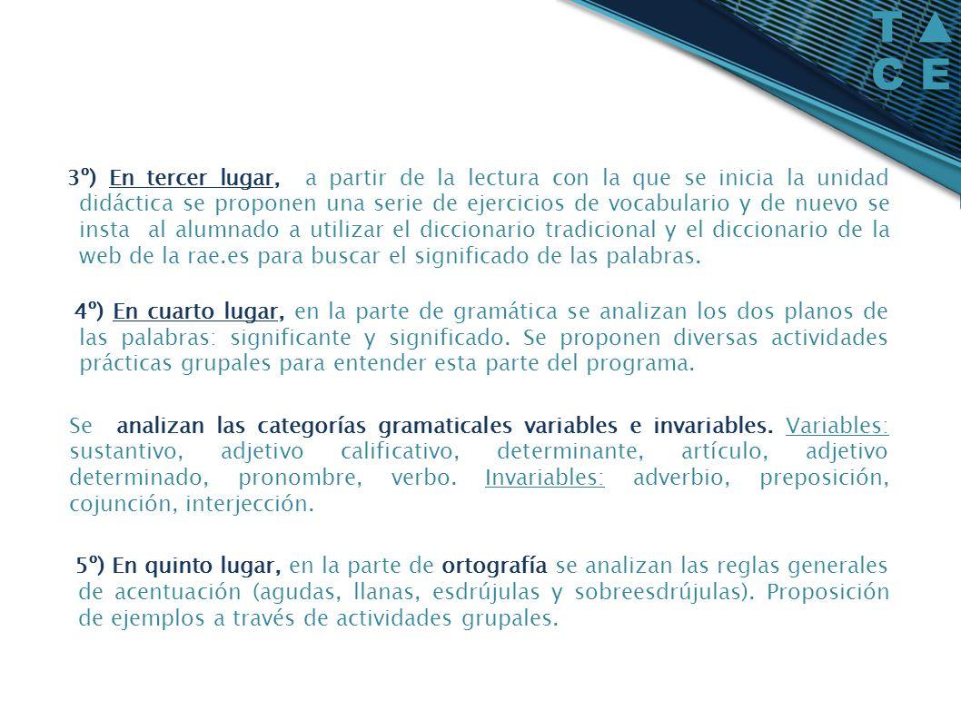 3º) En tercer lugar, a partir de la lectura con la que se inicia la unidad didáctica se proponen una serie de ejercicios de vocabulario y de nuevo se insta al alumnado a utilizar el diccionario tradicional y el diccionario de la web de la rae.es para buscar el significado de las palabras.