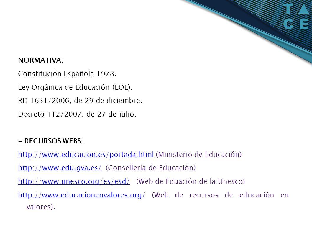 NORMATIVA:Constitución Española 1978. Ley Orgánica de Educación (LOE). RD 1631/2006, de 29 de diciembre.