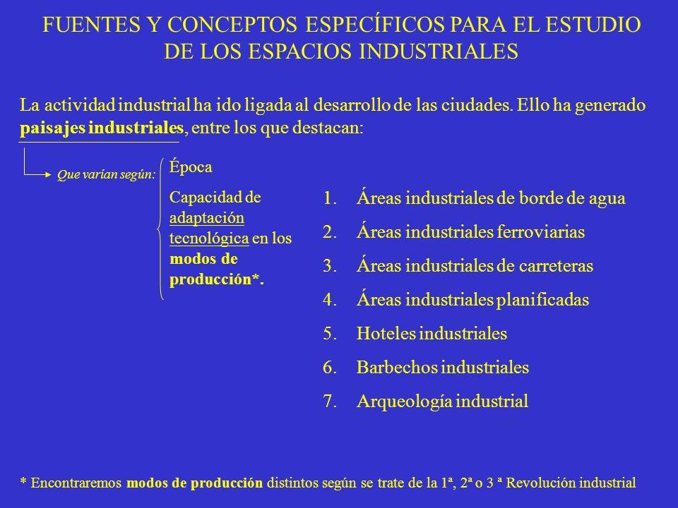 FUENTES Y CONCEPTOS ESPECÍFICOS PARA EL ESTUDIO DE LOS ESPACIOS INDUSTRIALES