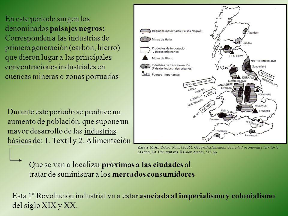 En este periodo surgen los denominados paisajes negros: Corresponden a las industrias de primera generación (carbón, hierro) que dieron lugar a las principales concentraciones industriales en cuencas mineras o zonas portuarias
