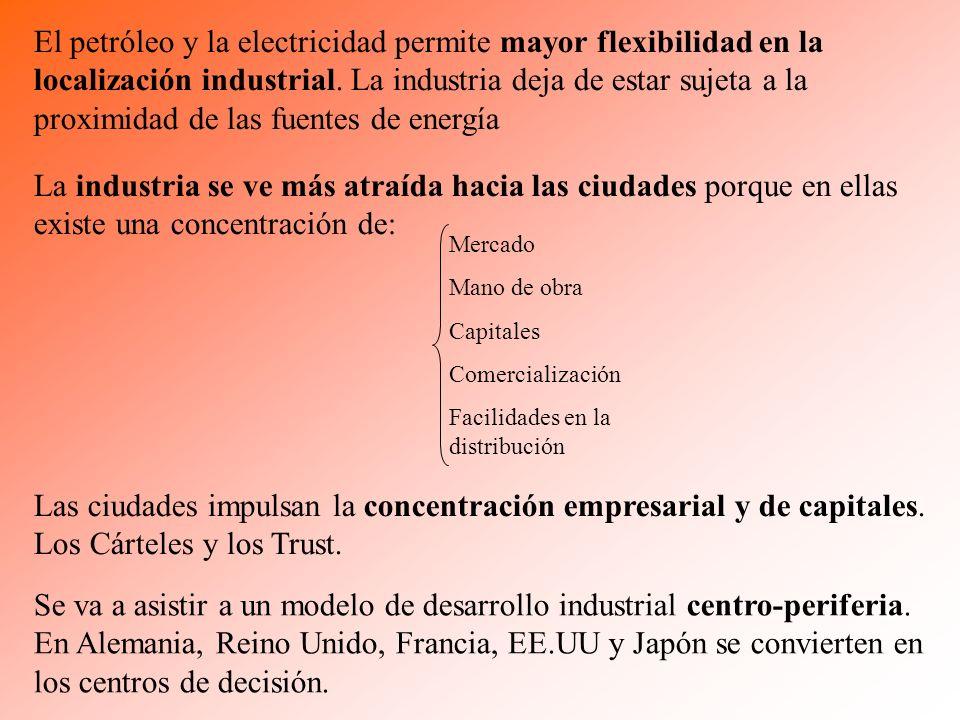 El petróleo y la electricidad permite mayor flexibilidad en la localización industrial. La industria deja de estar sujeta a la proximidad de las fuentes de energía