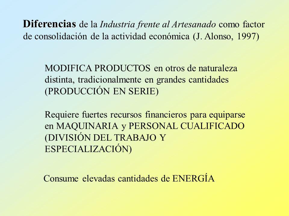 Diferencias de la Industria frente al Artesanado como factor de consolidación de la actividad económica (J. Alonso, 1997)