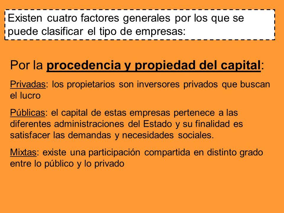 Por la procedencia y propiedad del capital: