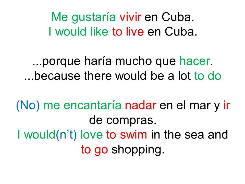 Me gustaría vivir en Cuba. I would like to live en Cuba