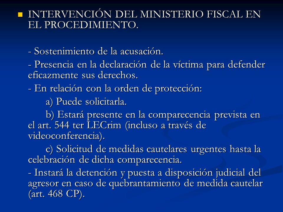 INTERVENCIÓN DEL MINISTERIO FISCAL EN EL PROCEDIMIENTO.