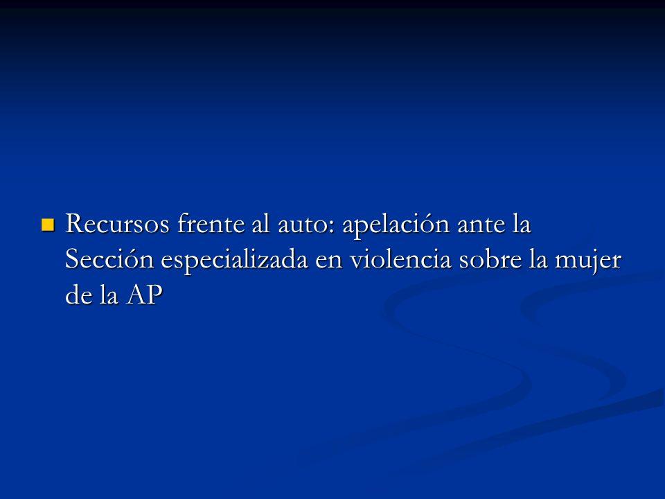 Recursos frente al auto: apelación ante la Sección especializada en violencia sobre la mujer de la AP