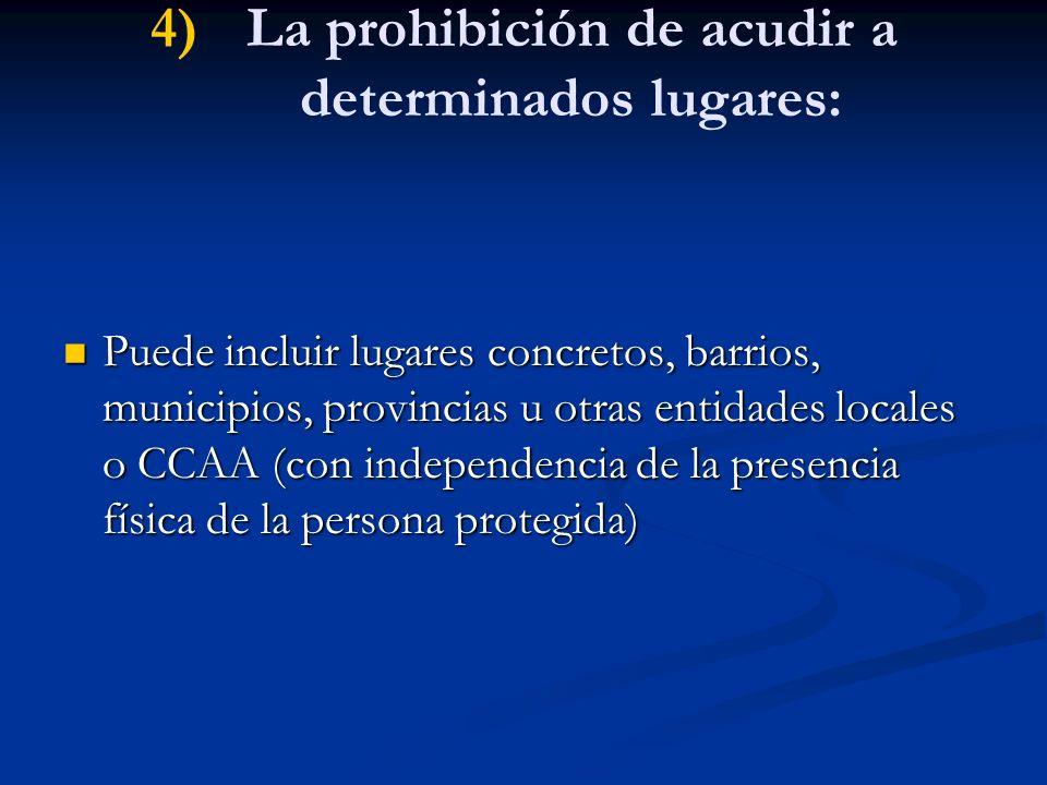 La prohibición de acudir a determinados lugares: