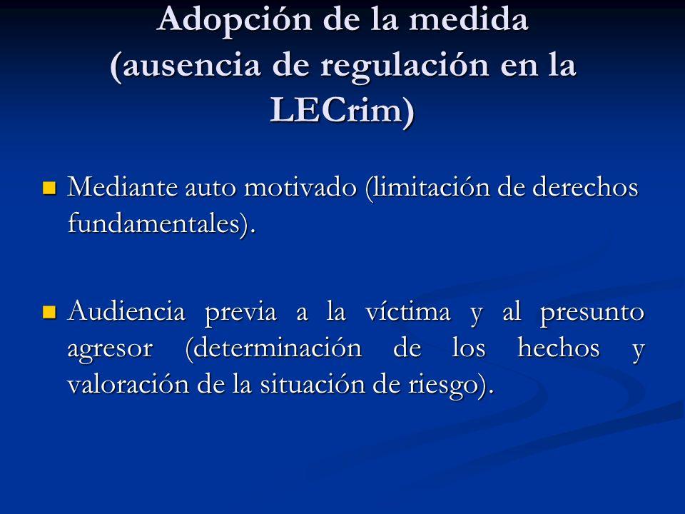 Adopción de la medida (ausencia de regulación en la LECrim)
