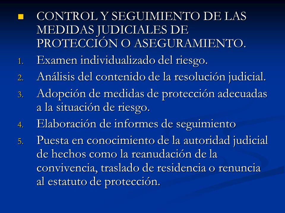 CONTROL Y SEGUIMIENTO DE LAS MEDIDAS JUDICIALES DE PROTECCIÓN O ASEGURAMIENTO.