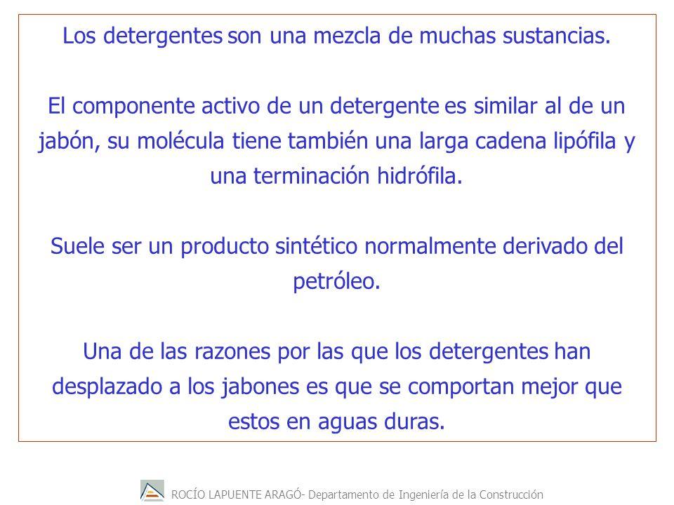 Los detergentes son una mezcla de muchas sustancias.