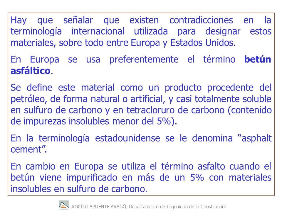Hay que señalar que existen contradicciones en la terminología internacional utilizada para designar estos materiales, sobre todo entre Europa y Estados Unidos.