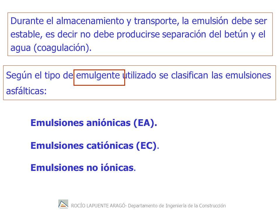 Durante el almacenamiento y transporte, la emulsión debe ser estable, es decir no debe producirse separación del betún y el agua (coagulación).