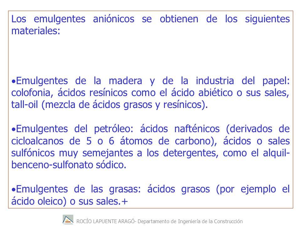Los emulgentes aniónicos se obtienen de los siguientes materiales:
