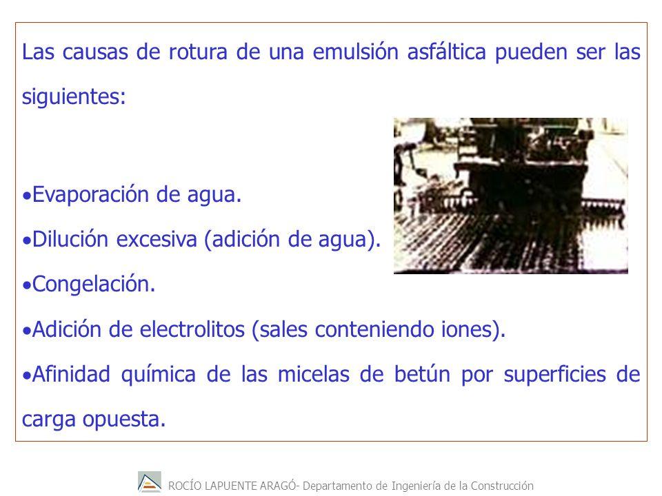 Las causas de rotura de una emulsión asfáltica pueden ser las siguientes: