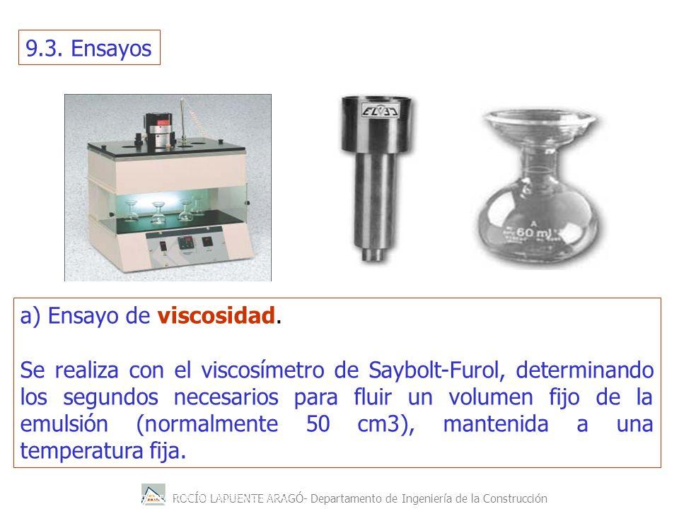 a) Ensayo de viscosidad.
