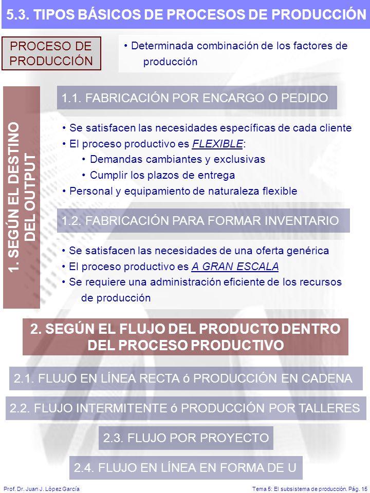 5.3. TIPOS BÁSICOS DE PROCESOS DE PRODUCCIÓN