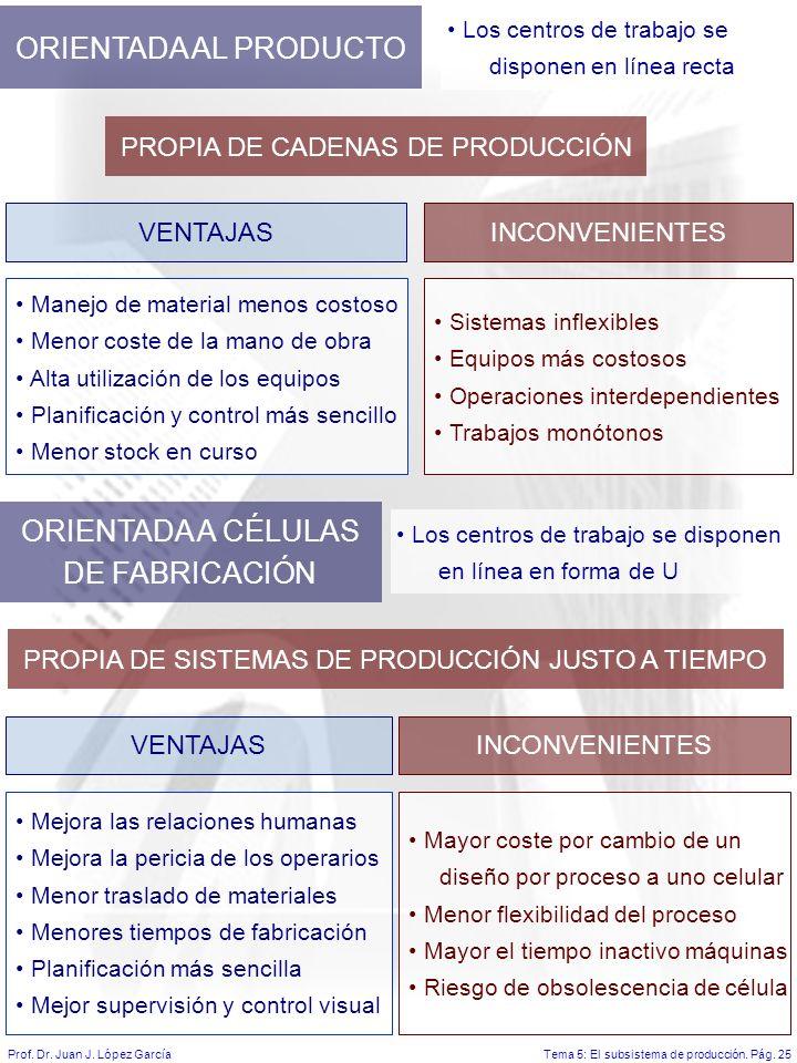 ORIENTADA AL PRODUCTO ORIENTADA A CÉLULAS DE FABRICACIÓN