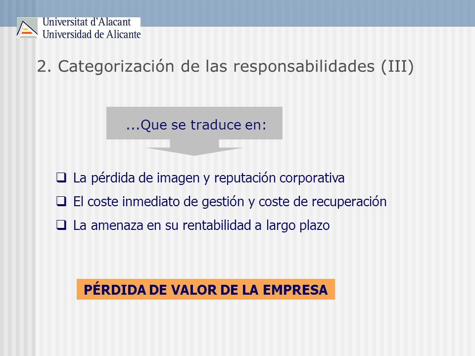 2. Categorización de las responsabilidades (III)