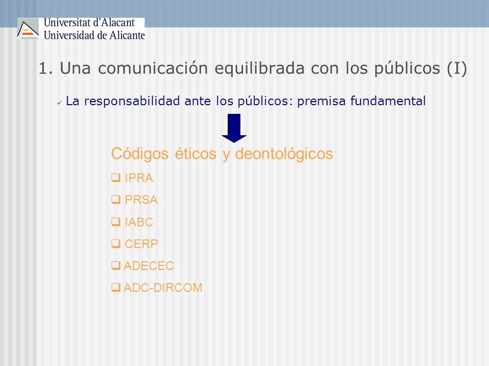 1. Una comunicación equilibrada con los públicos (I)