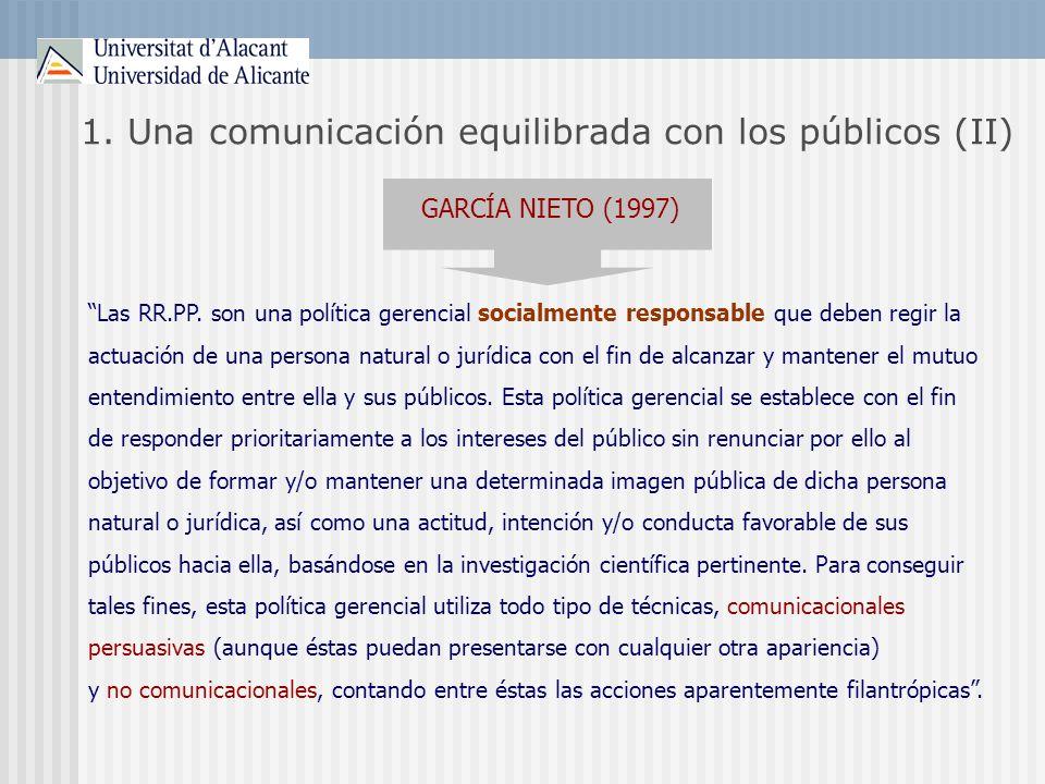 1. Una comunicación equilibrada con los públicos (II)