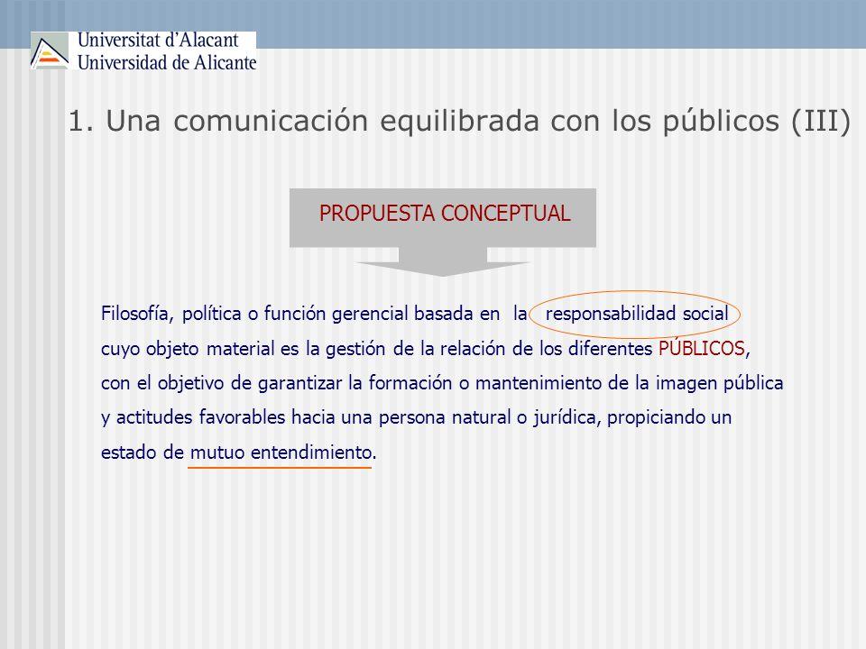 1. Una comunicación equilibrada con los públicos (III)