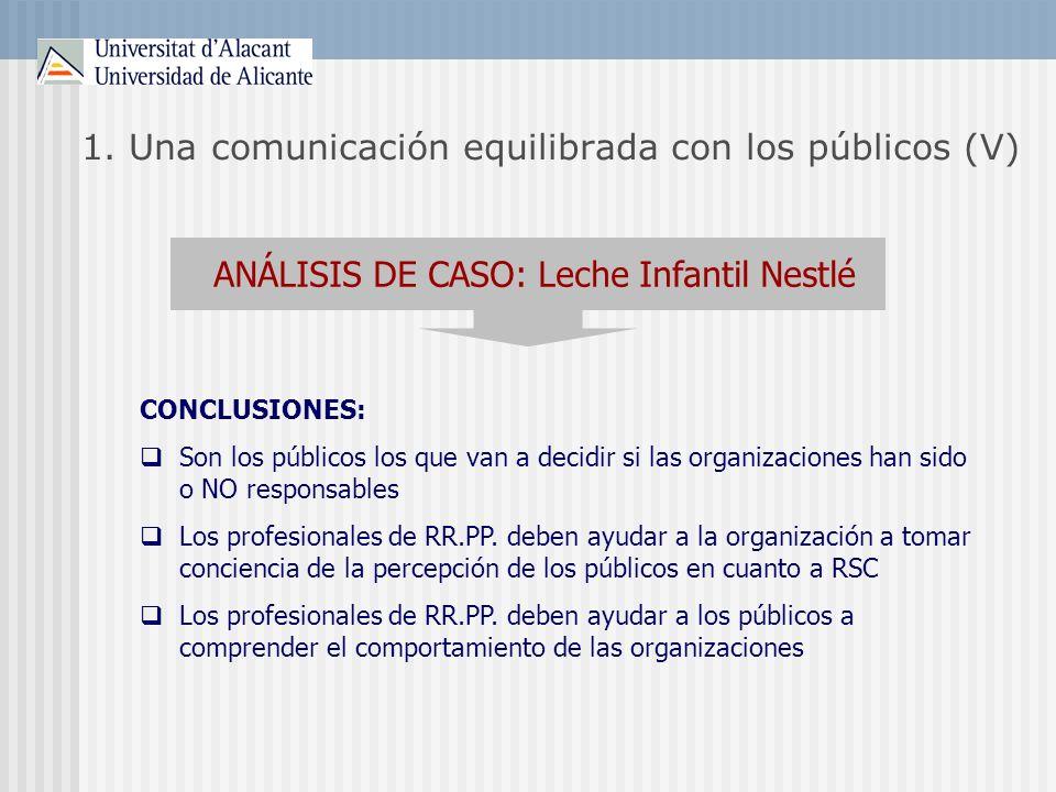 1. Una comunicación equilibrada con los públicos (V)