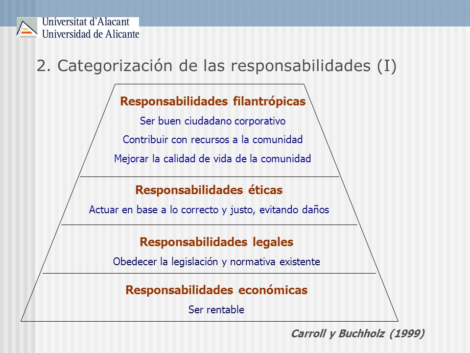 2. Categorización de las responsabilidades (I)