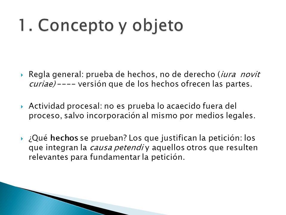 1. Concepto y objeto Regla general: prueba de hechos, no de derecho (iura novit curiae) ---- versión que de los hechos ofrecen las partes.