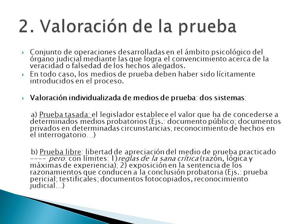 2. Valoración de la prueba