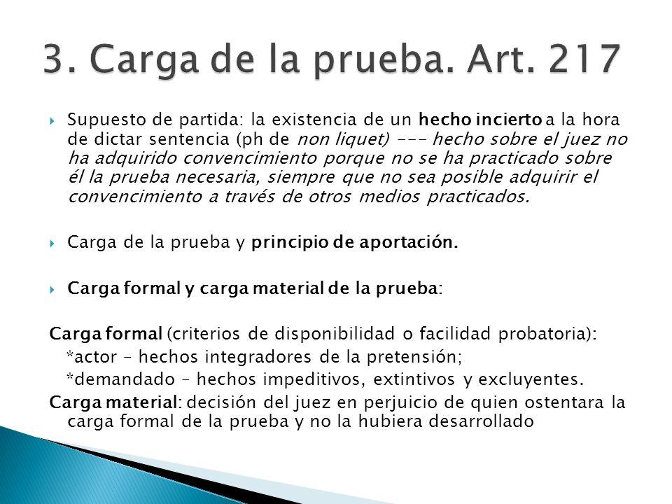3. Carga de la prueba. Art. 217