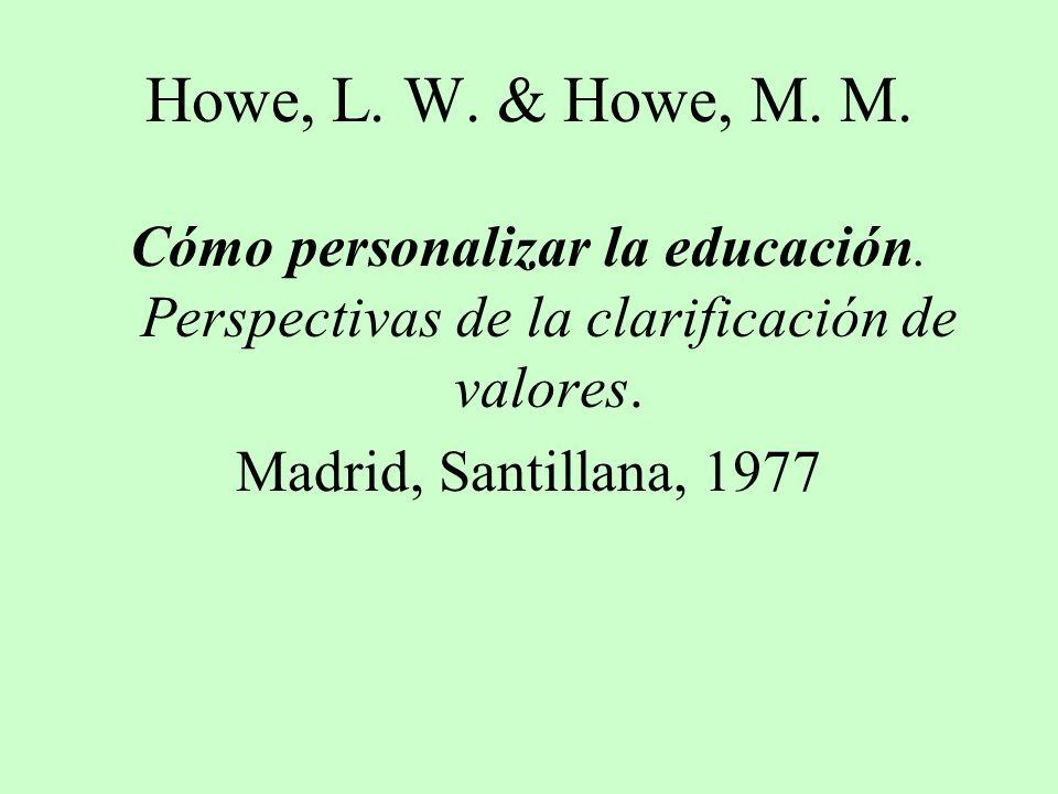 Howe, L. W. & Howe, M. M. Cómo personalizar la educación. Perspectivas de la clarificación de valores.