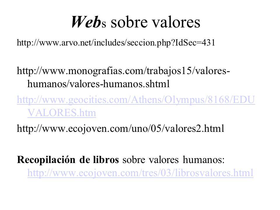 Webs sobre valores http://www.arvo.net/includes/seccion.php IdSec=431. http://www.monografias.com/trabajos15/valores-humanos/valores-humanos.shtml.