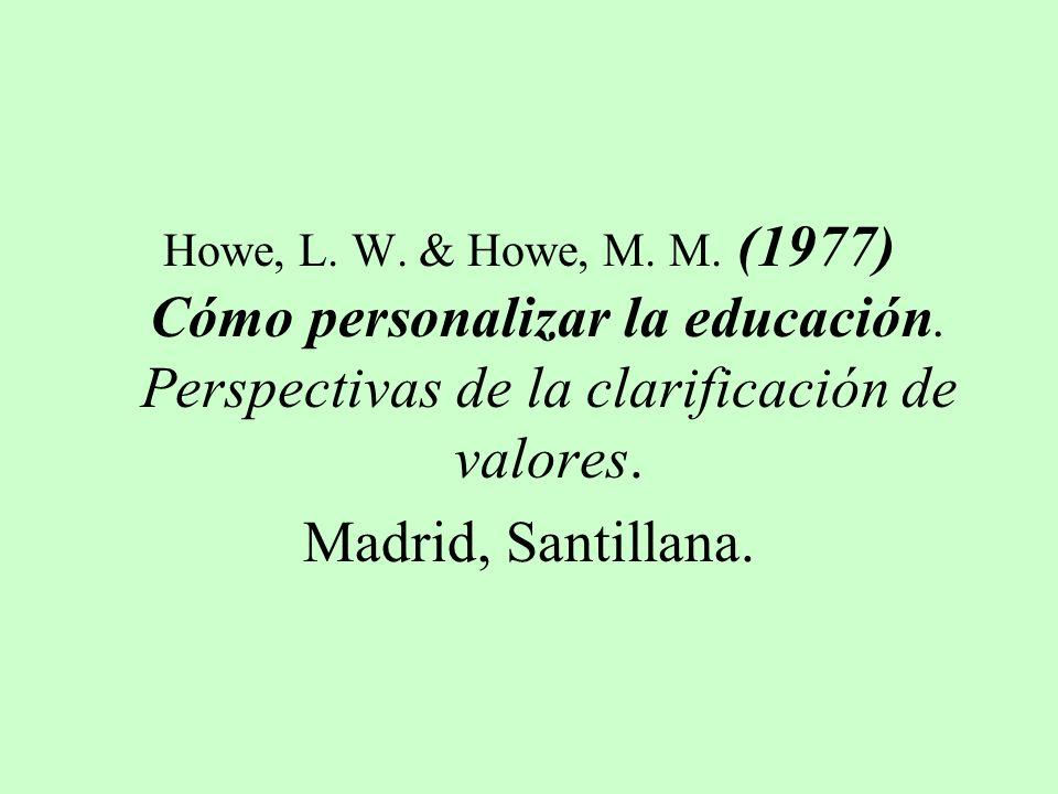 Howe, L. W. & Howe, M. M. (1977) Cómo personalizar la educación