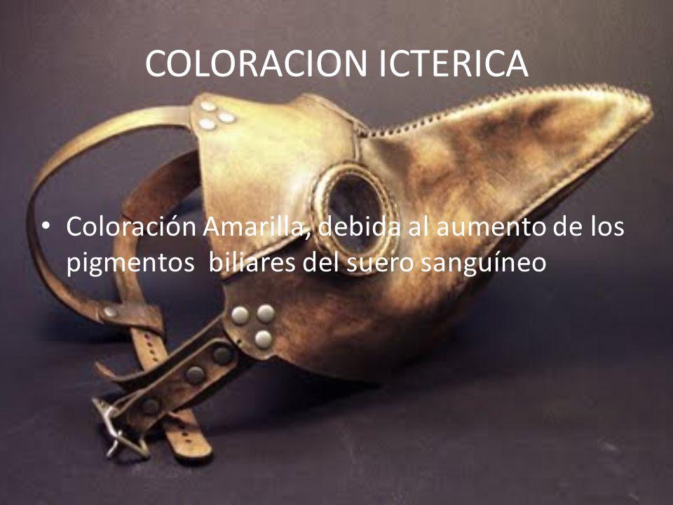 COLORACION ICTERICA Coloración Amarilla, debida al aumento de los pigmentos biliares del suero sanguíneo.