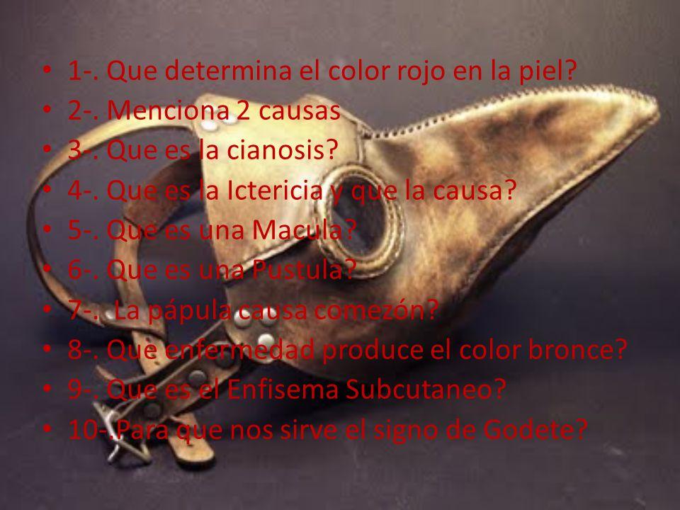 1-. Que determina el color rojo en la piel