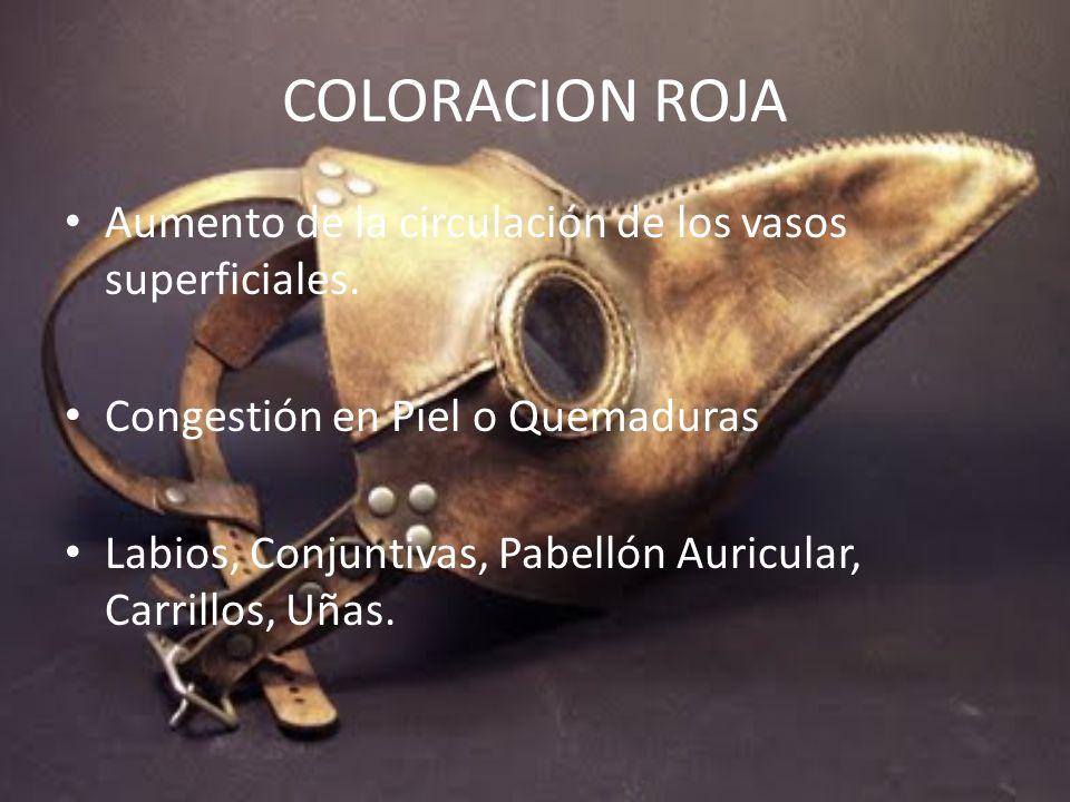 COLORACION ROJA Aumento de la circulación de los vasos superficiales.